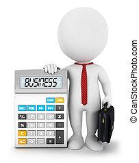 bianco, 3d, calcolatore, persone affari