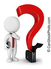 bianco, 3d, domanda, persone affari