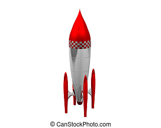 bianco, 3d, fondo, razzo, rosso