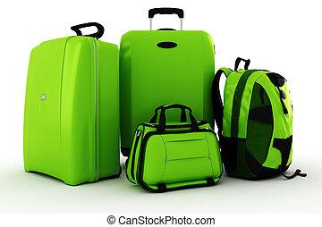 bianco, 3d, isolato, fondo, bagaglio