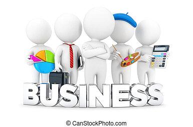 bianco, 3d, lavori, persone affari