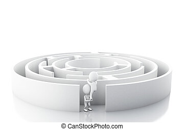 bianco, 3d, maze., persone affari