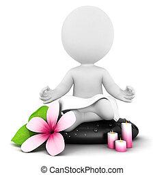 bianco, 3d, meditazione, persone