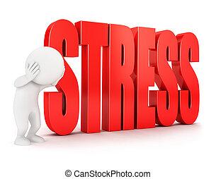 bianco, 3d, stress, persone