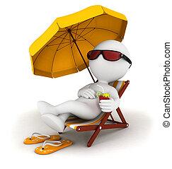 bianco, 3d, vacanza, persone