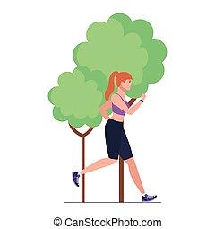 bianco, abbigliamento sportivo, donna, fondo, pianta, albero, correndo, natura, jogging