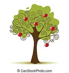 bianco, albero, mela, fondo, isolato