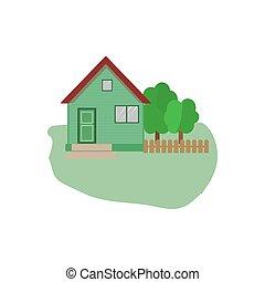 bianco, anche, casa, fondo., house., utile, icona, interfaccia, domanda, isolato, infographics., appartamento, suburbano, famiglia, disegno, web, vettore, americano