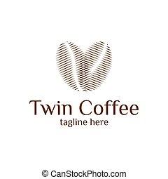 bianco, arrostito, verde, caffè, fondo, fagioli, scuro, palcoscenici, logotipo, isolato, minimalista, vario, marrone
