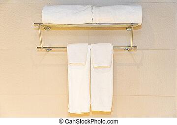 bianco, bagno, asciugamano, parete, decorazione, comodo