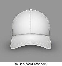 bianco, berretto, baseball, vuoto