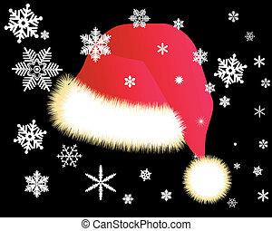 bianco, berretto, fiocchi neve, rosso