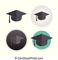 bianco, berretto, graduazione