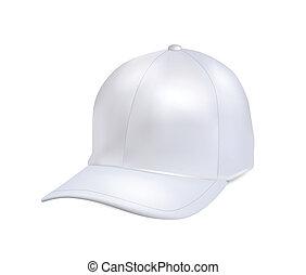 bianco, berretto, isolato