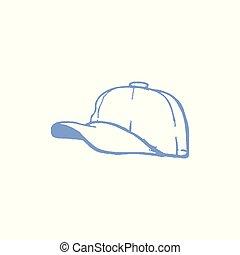 bianco, blu, baseball, fondale, cielo, berretto