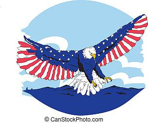 bianco, blu & rosso, aquila, americano
