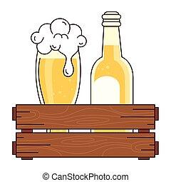 bianco, bottiglia, scatola, legno, vetro, fondo, birra