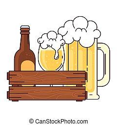 bianco, bottiglia, tazza, scatola, legno, boccale vetro, fondo, birra