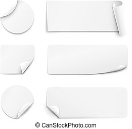 bianco, carta, adesivi, fondo