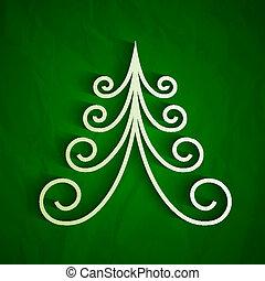 bianco, carta, albero, natale, 3d