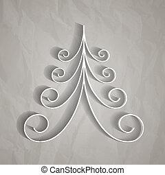 bianco, carta, albero, natale