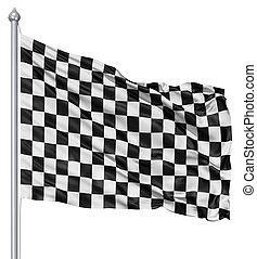 bianco, checkered, nero, bandiera
