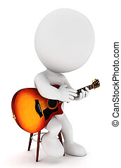 bianco, chitarrista, 3d, persone