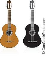 bianco, classico, fondo., chitarra