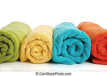 bianco, colorato, asciugamani, assortito