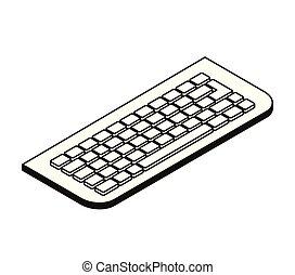 bianco, computer, silhouette, fondo, tastiera