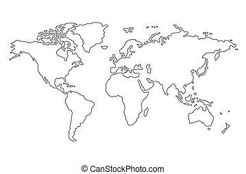 bianco, contorno, fondo, mappa, mondo