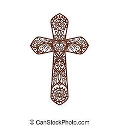 bianco, cristiano, croce, ornare