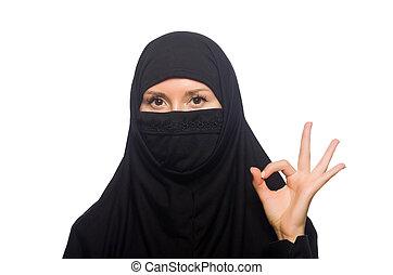 bianco, donna, isolato, musulmano