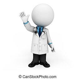 bianco, dottore, 3d, persone