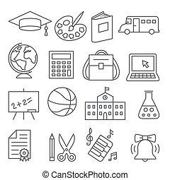 bianco, educazione, fondo, icone, scuola, linea