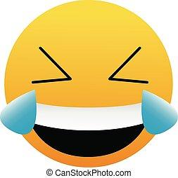 bianco, felice, emoticon, gioia, illustrazione, carino, vettore, molto, isolato, fondo., pianto