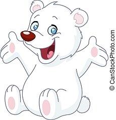 bianco, felice, orso, teddy