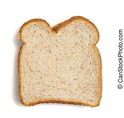 bianco, fetta, frumento, fondo, bread