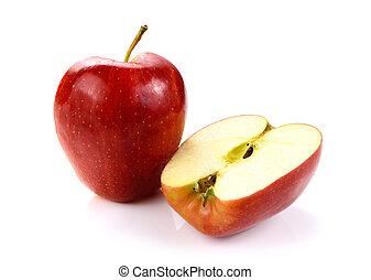bianco, fetta, mela, rosso, isolato