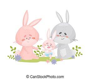 bianco, fondo., conigli, babbo, bambino, illustrazione, walk., mamma, insegnare, vettore