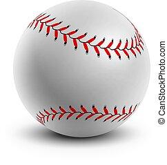 bianco, fondo., palla, baseball