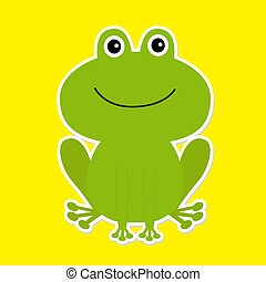 bianco, frog., verde, cartone animato, fondo., carino