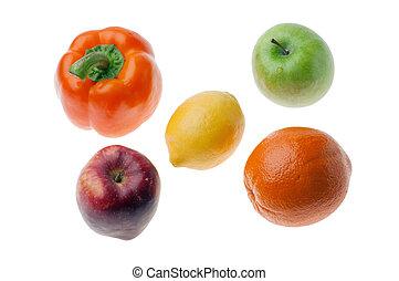 bianco, frutta, esso, isolato