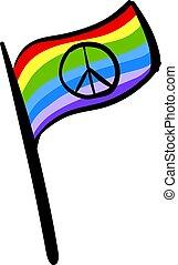 bianco, illustrazione, bandiera, pace, vettore, fondo