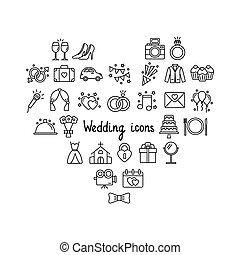 bianco, illustrazione, icone, vettore, set, matrimonio, fondo