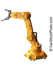 bianco, industriale, usato, braccio, industria automobilistica, robotic, isolato, fondo., apparecchiatura, sopra