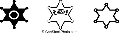bianco, isolato, fondo, icona, sceriffo