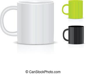 bianco, isolato, fondo, tazza