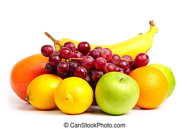 bianco, isolato, frutte