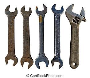 bianco, isolato, vecchio, set, wrenches, fondo